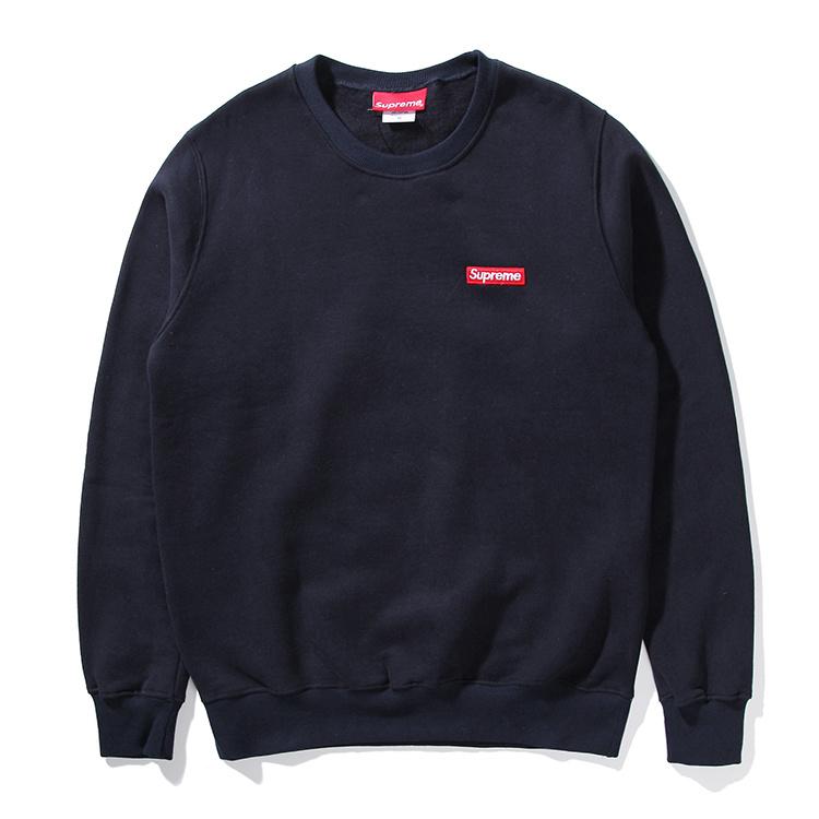 Supreme (シュプリーム) 15FW スモールボックスピキュークルーネック スウェットシャツ(Small Box Pique Crewneck Sweatshirt) ネイビー
