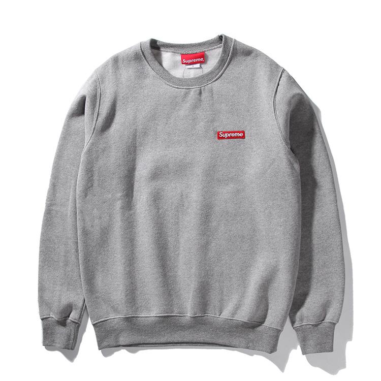 Supreme (シュプリーム) 15FW スモールボックスピキュークルーネック スウェットシャツ(Small Box Pique Crewneck Sweatshirt) グレー