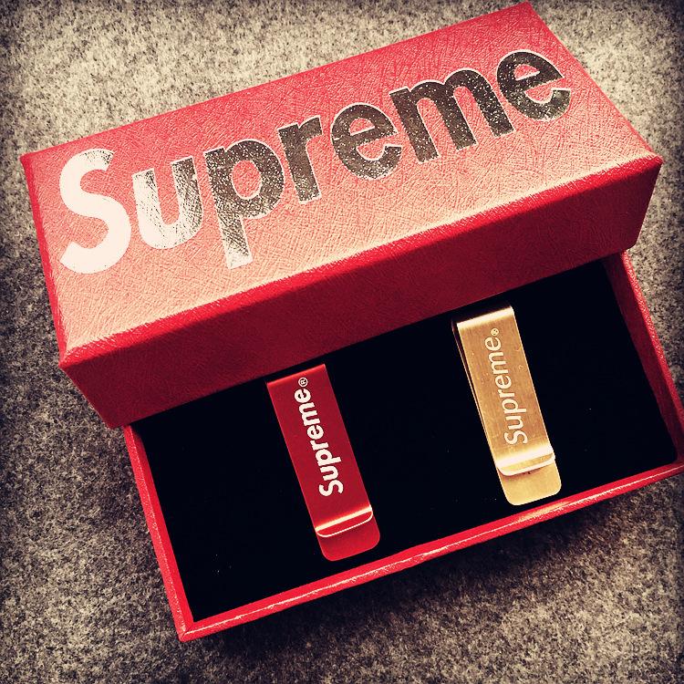 Supreme (シュプリーム) Logo Money Clip レッド/ゴールド