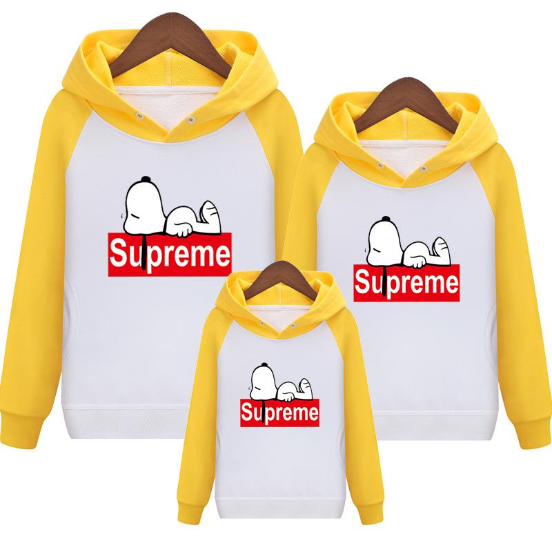 Supreme Snoopy Carton 親子お揃い三つセット イエロー/ホワイト