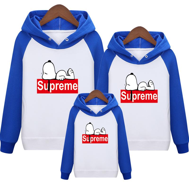 Supreme Snoopy Carton 親子お揃い三つセット ブルー/ホワイト