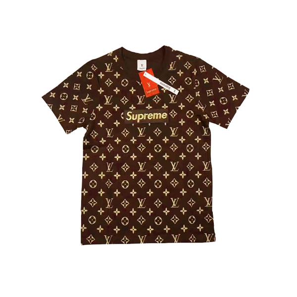 2017 大人気ブランド Supreme X Louis Vuitton 半袖Tシャツ Coffee