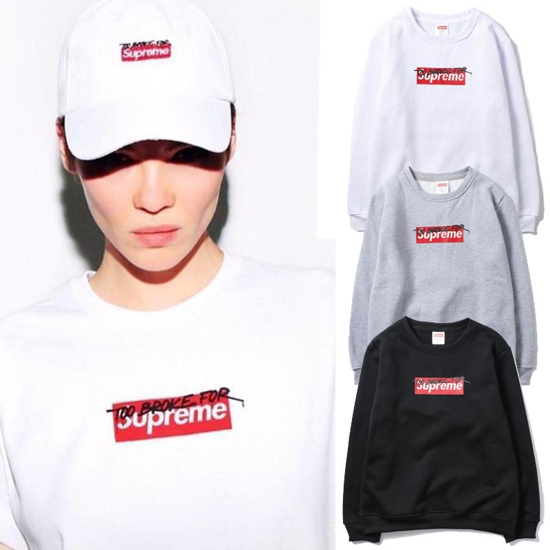 2017 FW Supreme (シュプリーム) Box Logo Signature Crewneck Sweatshirt クルーネックパーカー 3 色