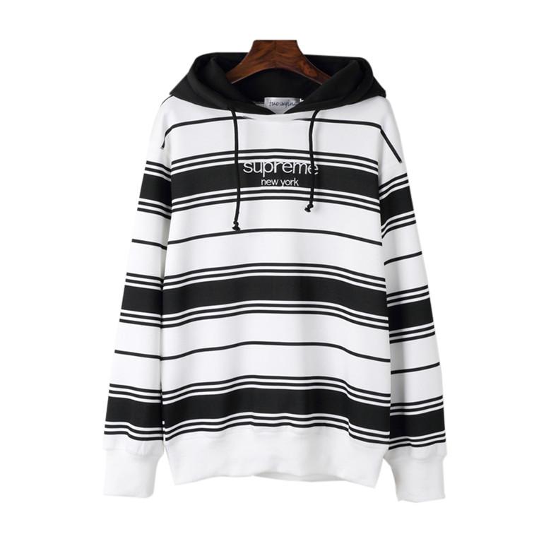 Supreme (シュプリーム) Striped Hooded Sweatshirt クルーネックパーカー ブラック/ホワイト