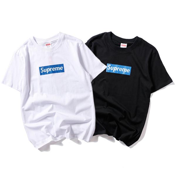 Supreme (シュプリーム) Glittering Blue Logo Box Tシャツ 2色