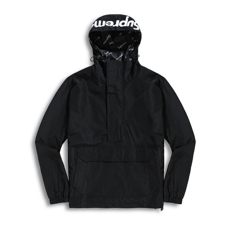 17FW Supreme (シュプリーム) Hooded Logo Half Zip Pullover ブラック