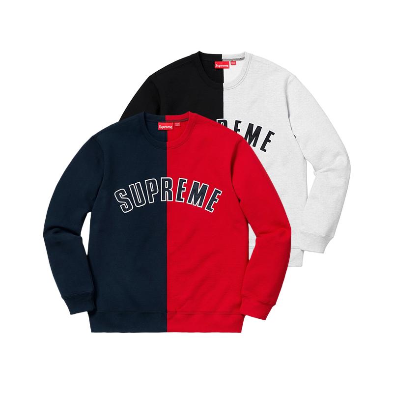 18FW Supreme Split Crewneck スウェットシャツ 2色